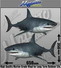 GREAT WHITE SHARKS - MIRRORED PAIR - 650mm x 350mm X 2 - BOAT DECALS