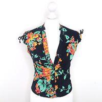 Ted Baker Black Orange Blue Floral Summer Print Shirt V-Neck Fitted Size 1 UK 8
