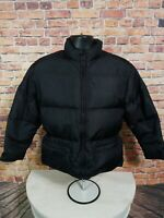 Eddie Bauer Goose Down Puffer Puffy Coat Jacket Womens Size Small Petite Black