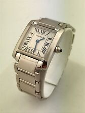Cartier Tank Francaise 18k White Gold 2403 Small Ladies Quartz Watch With Box