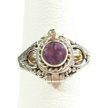 925 STERLING GOLD ACCENT BALI BRAIDED POISON PILL PURPLE AMETHYST SIZE 7 RING