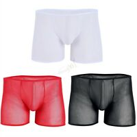 Sexy Men See-Through Mesh Pouch Boxer Brief Lingerie Underwear Underpants Shorts