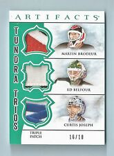BRODEUR BELFOUR JOSEPH 2012/13 ARTIFACTS TUNDRA TRIOS 7 COLOR TRIPLE PATCH /18