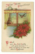 VINTAGE NEW YEAR POSTCARD TWO BLUEBIRDS WINDOW CURTAINS RED POINSETTIAS 1922