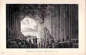 1880 Aufdruck ~Basalt~ FINGAL'S Höhle Staffa Innere Hebrides Schottland