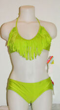 Raisins~ Shiny Lime Green~Fringe Bikini~S&M~Scrunch Butt Bottom~Boy Short :)
