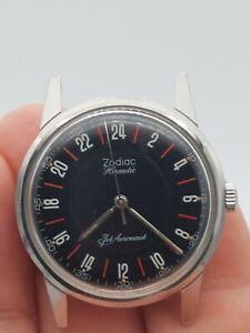 Vintage 1960's Zodiac Hermetic Jet Aeronaut - 24 hour dial - runs/works well
