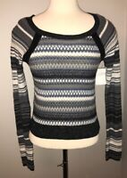 Free People Anthropologie Blue White Gray Stripe Knit Sweater, Size Small