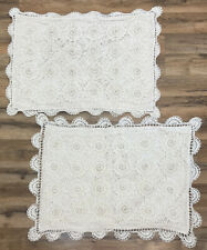 PAIR Crocheted Medallion Lace Cotton Standard Pillow Cover Sham Boho Pillowcase