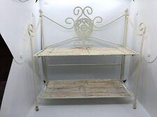 Vintage Large White Metal Wire Mesh Corner 2 Tier Shelf - bathroom kitchen
