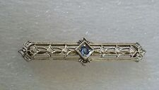 Antique 14k Gold White / Yellow Filigree Pin Brooch Aquamarine Art Deco