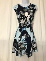 Vince Camuto Navy Floral Sleeveless A-Line Spring Dress Size 8 - NWT
