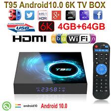 T95 6K 3D Android 10.0 4+64G Quad Core 2.4G WIFI Smart TV BOX HDR 64Bit VP9 3D