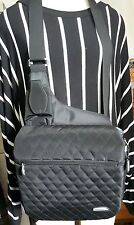 TRAVELON black quilted messenger bag travel purse crossbody satchel tote wallet
