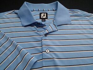 FootJoy Mens Large Short Sleeve Blue Striped Athletic Polo Golf Shirt