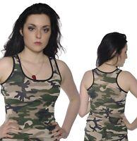 GREEN ARMY CAMOUFLAGE VEST TOP  ALTERNATIVE GOTH FANCY DRESS size 8-10
