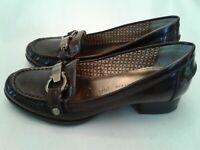 Anne Klein Iflex Dagney 6 M Dark Brown Shoes Loafers Decorative Buckle Womens