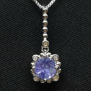 Genuine 1.10ctw Tanzanite & Diamond Cut White Sapphire 925 Silver Pendant