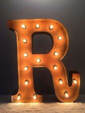 """New Rustic Metal Letter R Light Marquee: Sign Wall Decoration 24"""" Vintage"""