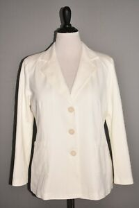 LINEA BY LOUIS DELL'OLIO NEW $77 Ponte Knit Blazer in Ivory Size 14
