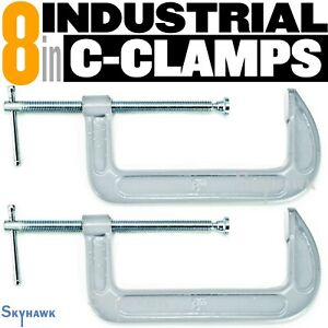 """2pc- 8"""" INDUSTRIAL C-CLAMPS Malleable Steel Frame 8"""" Opening 3-5/8"""" Depth"""