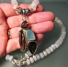 925 silver 64gr cut rainbow moonstones, chalcedony/quartz 19.25 inch necklace.