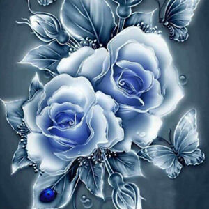 Round Drill 5D Diamond Painting Embroidery Blue Rose Craft Art Decoration