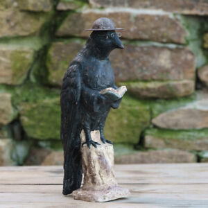 "Ragon House Paper Mache Smart Crow 12.5"" Primitive Halloween Decor"