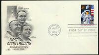 #2841 Moon Landing 25th Anniv ARTCRAFT First Day Cover Honors 1969 Moon Landing