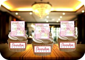 Good Luck New Job Pink 12 Edible STANDUP Cake Toppers Decoration Leaving Work