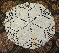 "White Crochet Doily Round Wedding Star Antique Handmade Heavy 11"" VTG Alabama US"