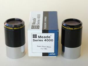 "MEADE Eyepiece Pair (2x) Super Plössl 26mm 1.25"" Smoothie Series 4000 JAPAN"
