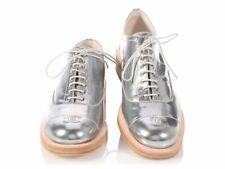 CHANEL Silver PVC Metallic Wood Sole Lace Oxford Emblem Cap Toe Shoe 37.5/7.5 *