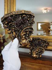 2 Wandkonsolen Set Antik Gold Konsole Barock Jugendstil Edel Wandregal Floral