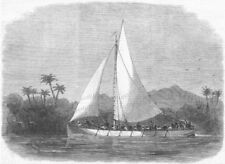 AFRICA. Steel boat Dr Livingstone search, antique print, 1867