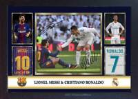 Lionel Messi Cristiano Ronaldo 2018 autograph signed poster photo print Framed