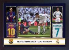 Lionel Messi Cristiano Ronaldo 2018 autograph signed poster photo print Framed
