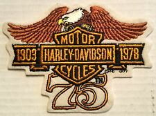 "RARE Harley Davidson 75th Anniversary Patch 1903-1978 NOS 5 1/2"" X 4"""