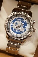 NEW PERSONALIZED DALLAS COWBOYS CUSTOM MADE SILVER WATCH WITH CRYSTALS!FREE SHIP