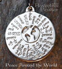 Peace Around the World - Pewter Pendant - World Global Peace Jewelry - Awakening