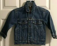 Vintage LEVI Denim Trucker Kids Size 5 Blue Jean Jacket Snap Red Tab