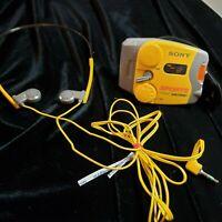 Vintage Sony SRF-M88 Yellow Sports Walkman AM FM Radio W/ Headset - Works!