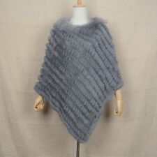 Real Rabbit Fur Poncho Women  Knitted  Raccoon Fur Collar Large Cape  91729