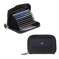 Esquire Caja de Tarjeta Cuero 9 Casilas para Cremallera Rfid Protección Negro