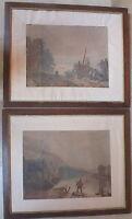 2 Grandes Acuarelas Melocotón Y Pescador de Barrere 1862