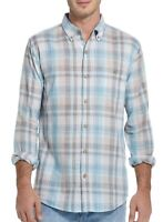 Weatherproof Mens Shirt Blue Size Small S Woven Plaid Button Down $60 282