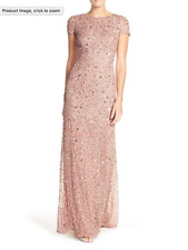 ADRIANNA PAPELL SHORT SLEEVE SEQUIN MESH ANTIQUE ROSE GOWN DRESS sz 16