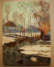 Russian Ukrainian Soviet Oil Painting impressionism landscape winter thaw snow