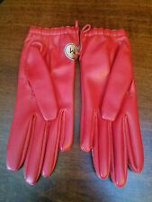 Vintage Women's Red Vinyl Gloves Wrist Length Button Closure Ladies w Tag