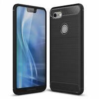 Google Pixel 3 XL Case Carbon Fiber Look Brushed Case Cover Black